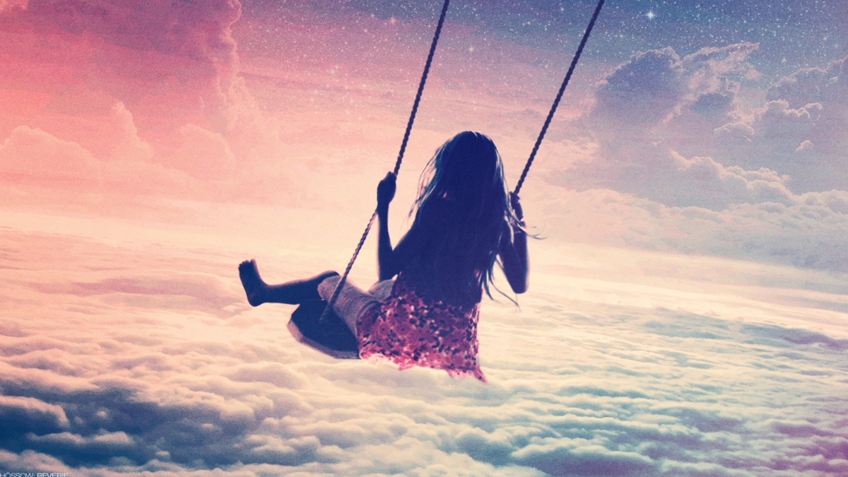 girl on swing above - photo #1